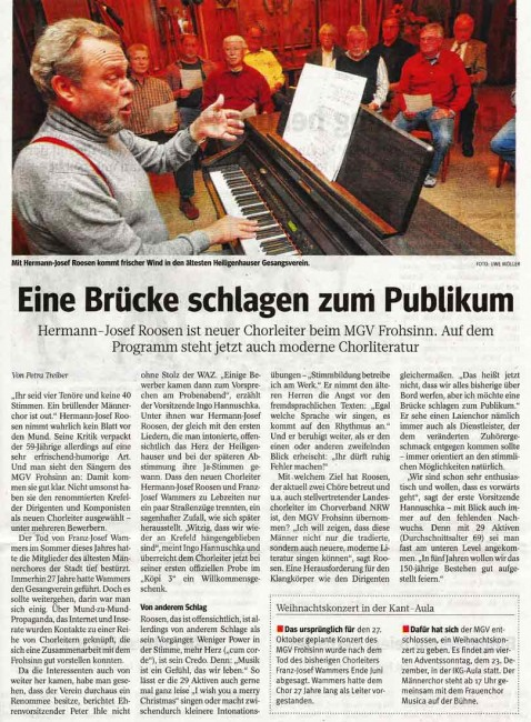 Artikel ind WAZ vom 13.10.2012