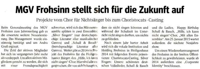 WAZ Heiligenhaus vom 04.02.2014